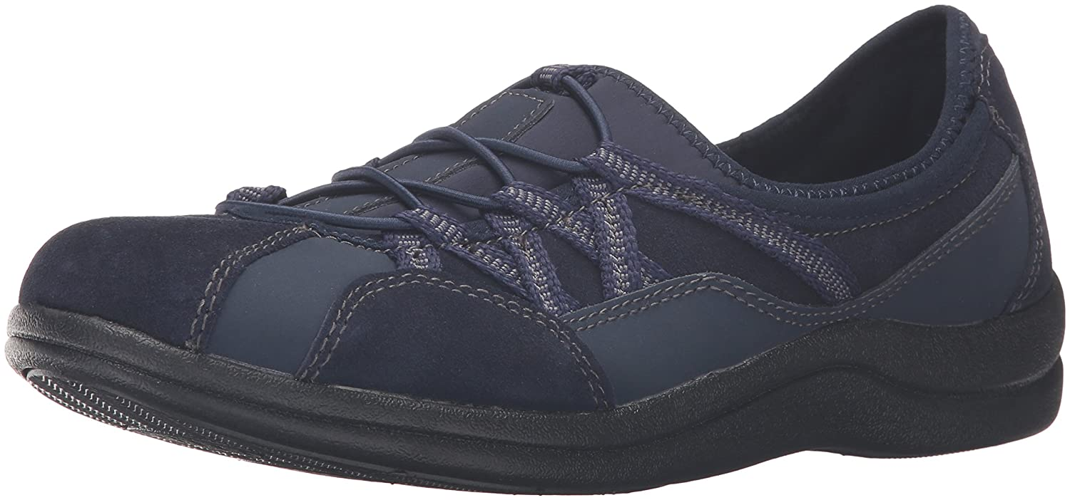 Easy Street Women's Laurel Flat B01JU8EECW 6.5 2W US|Navy Leather/Suede Leather
