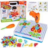 147 Pieces Creative Mosaic Puzzle Toy with Electric Drill Screw Tool Set, DIY Construction Engineering Building Blocks STEM L