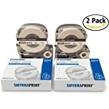 2 Pack Label Tape Cartridge compatible with Epson - LW-300 LW-400 LW-500 LW-600 LC-4WBN9 – Black On White Label Maker Tape – The Best Tape Refill Cartridge – 24 Feet Long – 12mm/1,2'' Wide