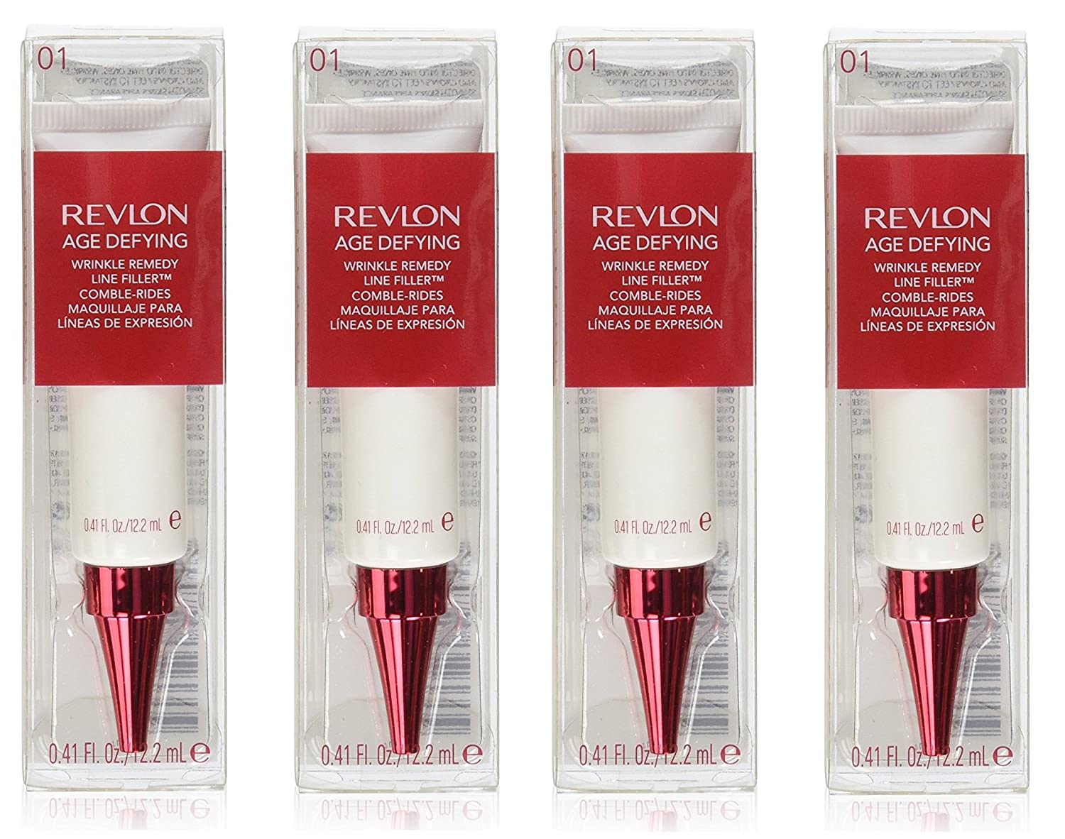 Revlon Age Defying Wrinkle Remedy Line Filler, 0.41 Oz (Pack of 4) + FREE Old Spice Deadlock Spiking Glue, Travel Size, .84 Oz