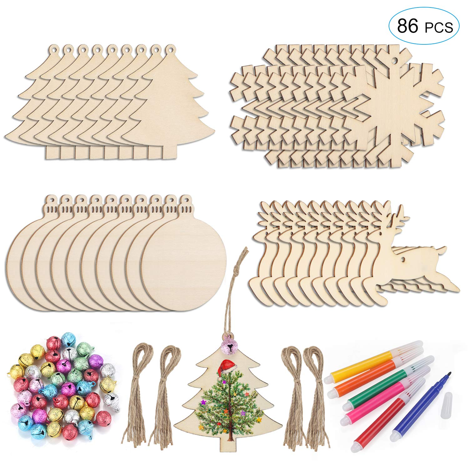 Unfinished Christmas Wooden Ornaments 86Pcs Set, HOMOR 40Pcs Paintable Blank Natural Wood Slices with 32ft Jute Twine 40Pcs Scrub Bells 6Pcs Color Pens DIY Crafts Christmas Ornaments Decorations Gift