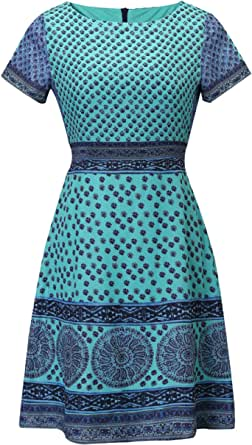 Women's Vintage Ethnic Style Printed Round Neck Loose Fit Bohemian Tunic Dress