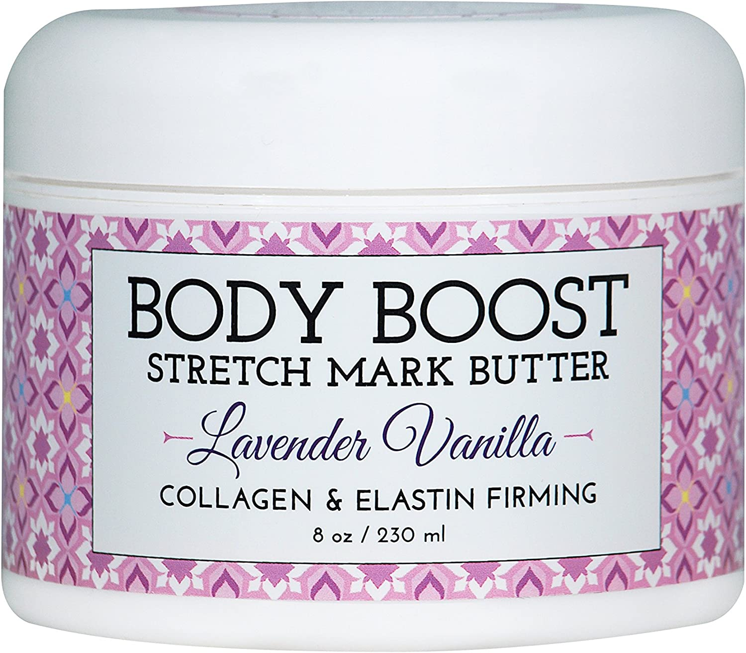 Body Boost Lavender Vanilla Stretch Mark Butter 8 oz.- Treat Stretch Marks and Scars- Pregnancy and Nursing Safe- with Shea Butter