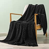 """Exclusivo Mezcla Brushed Diamond Check Large Flannel Fleece Throw Blankets (Black, 50"""" x 70"""")-Soft, Warm and Lightweight"""