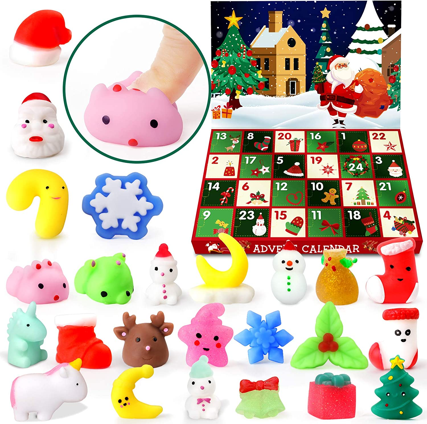 HINZER Advent Calendar 2020 for Kids and Adults Xmas Mochi Squishies Xmas Gift for Kids Surprise Xmas Present Xmas Advent Calendars for Friends Teen Girls Boys Count Down to Xmas 24 Pcs