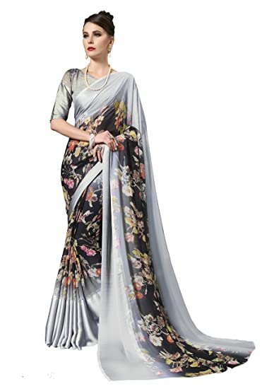 63fbf99bb Gaurangi Creation Printed Weightless Georgette Satin Patta Saree For Women  (leele3101 Grey)  Amazon.in  Clothing   Accessories