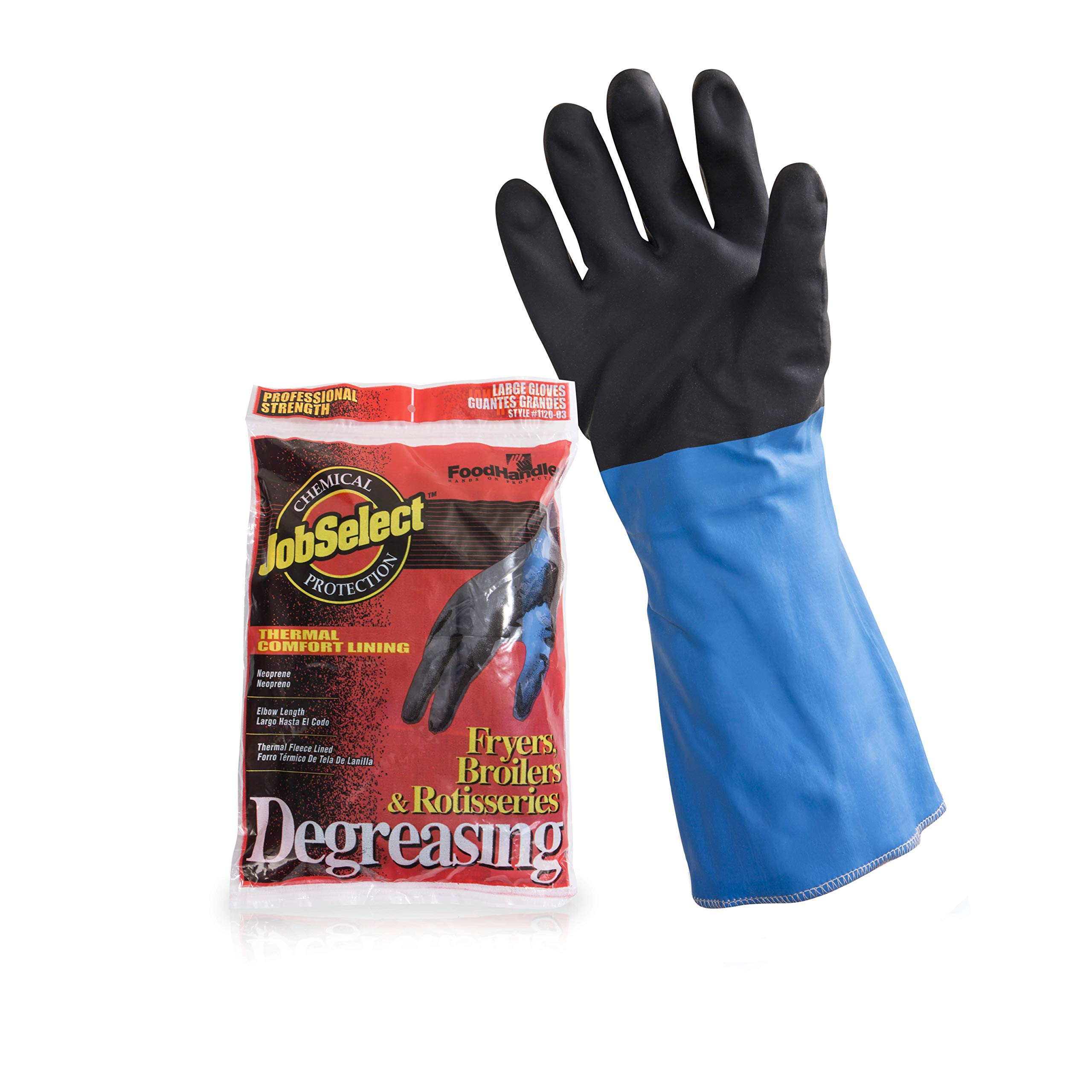 JobSelect 1120-03 JobSelect Degreasing, Neoprene, LG, Black/Blue (Pack of 8)