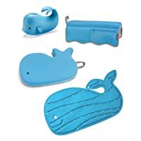 Skip Hop Moby Baby Bath Set with Four Bathtime Essentials, Spout Cover, Bath Kneeler, Elbow Pad, & Waterfall Rinser, Blue