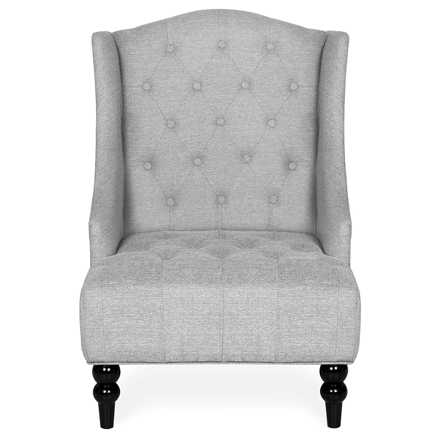 Amazon.com: Best Choice Products Tall Wingback Tufted Fabric Accent Chair    Gray: Kitchen U0026 Dining
