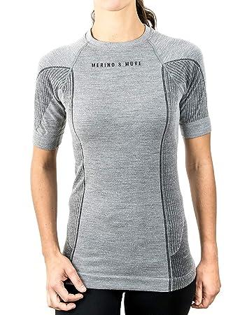 b6995d01842913 Merino & More Damen Funktions T-Shirt - Premium Funktionsunterwäsche aus  Merinowolle - Sport - Funktionsshirt - Kurzarm hellgrau Gr. XL
