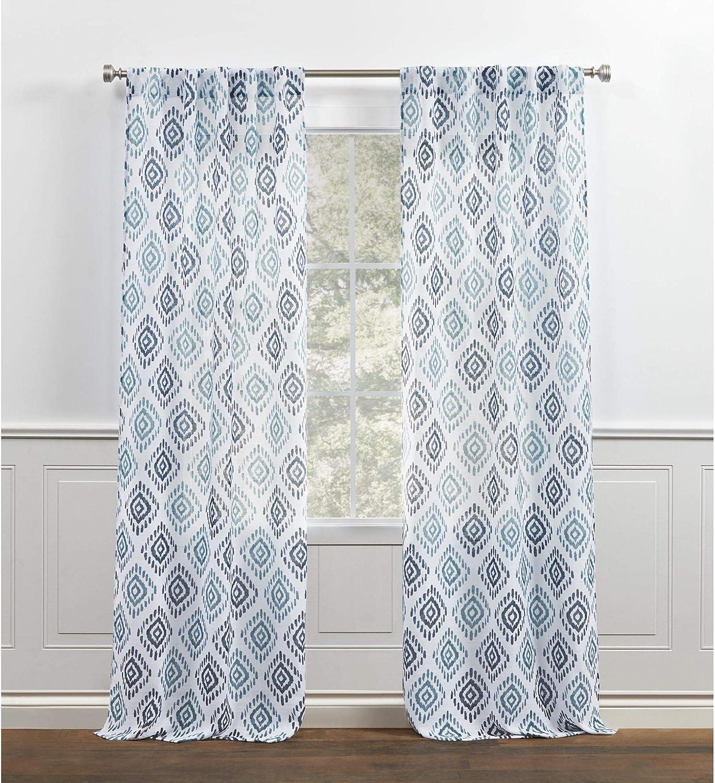 Chaps Ikat Medallion Printed Semi Sheer Textured Back Tab/Rod Pocket Curtain Panels, 38x84, Blue