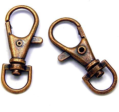 10 Sturdy Lobster Claw Clasp Key Ring~Antique Copper