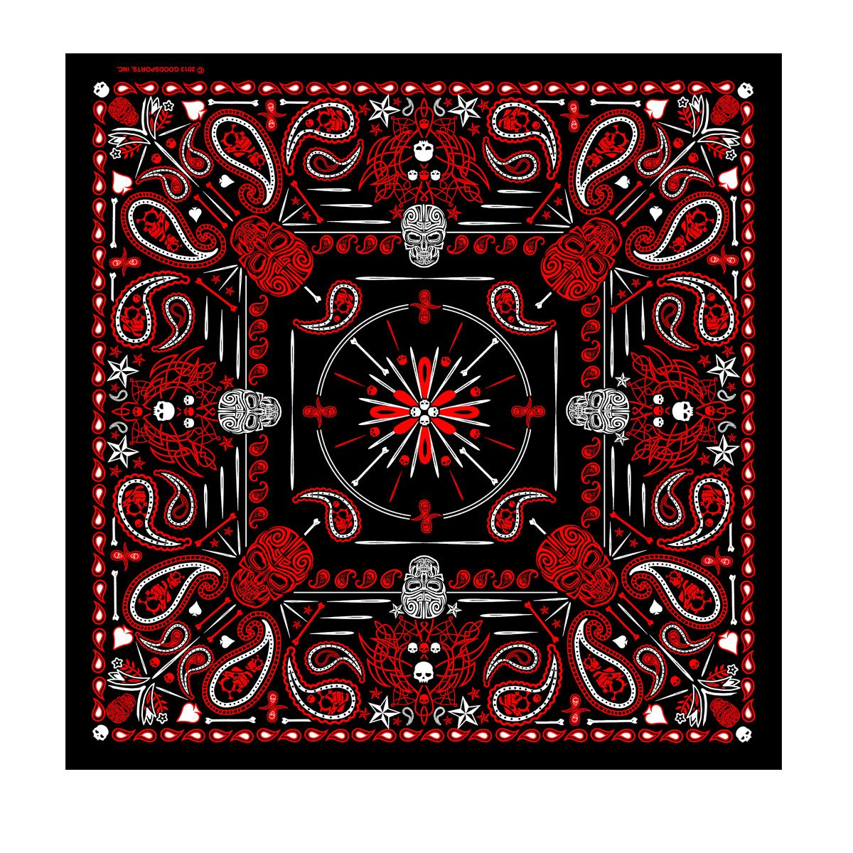 "Signature Bikers Bandanas Collection Original Design, 21"" x 21"" - BANDANA MENS RED PAISLEY SKULL"