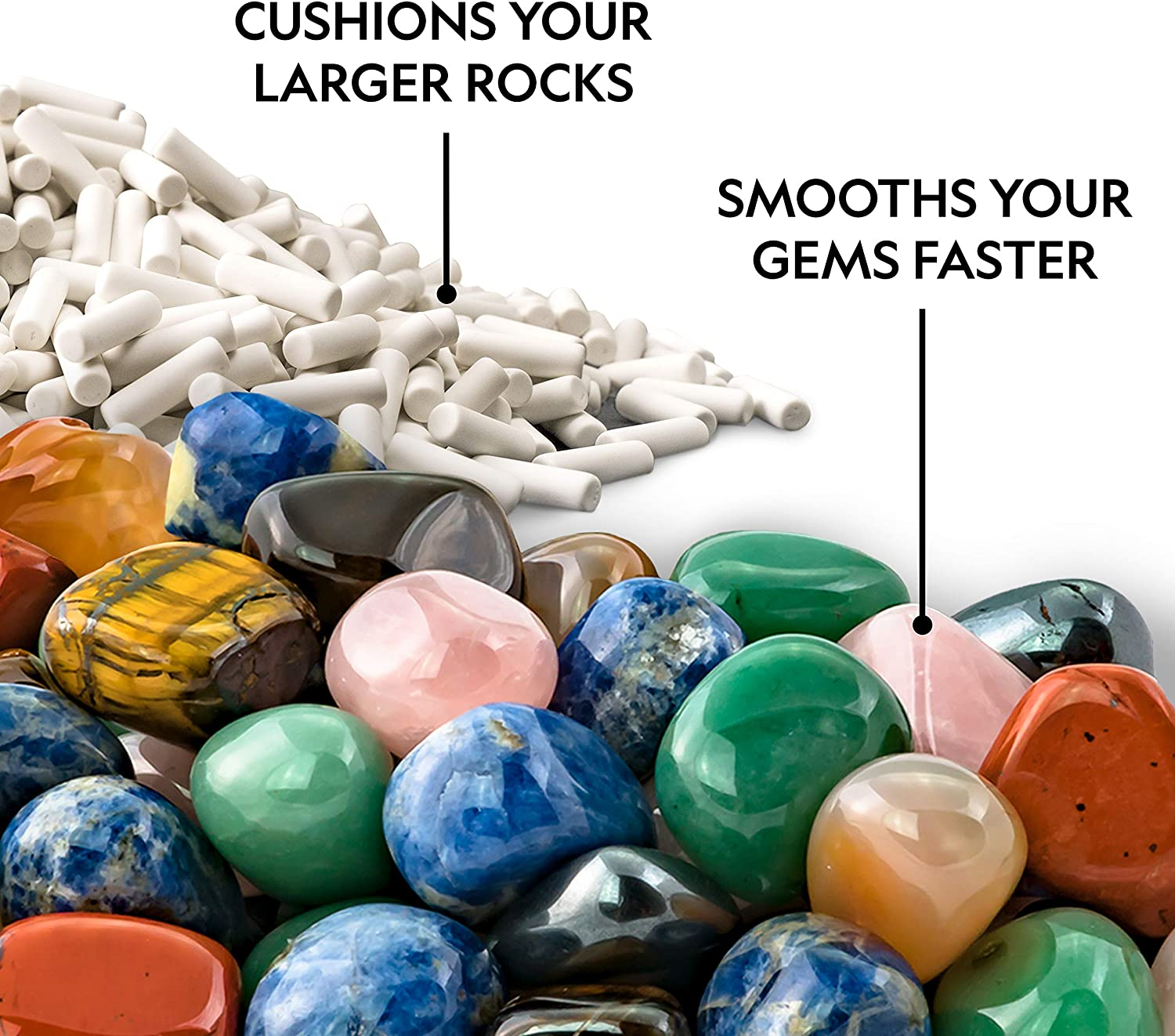 Reusable Protects Rocks NATIONAL GEOGRAPHIC Rock Tumbler Ceramic Pellets Improves Tumbling Rock Tumbling Supplies 1.5 lb Ceramic Media for Rock Polisher Use with Rock Polishing Grit
