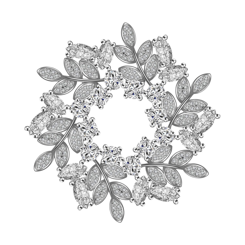 Broche en cristal fleur broches boucle pour manteau pull écharpe plaqué or blanc 18 carats Vintage Broches de Noël Wonvin Collection WCB18102204