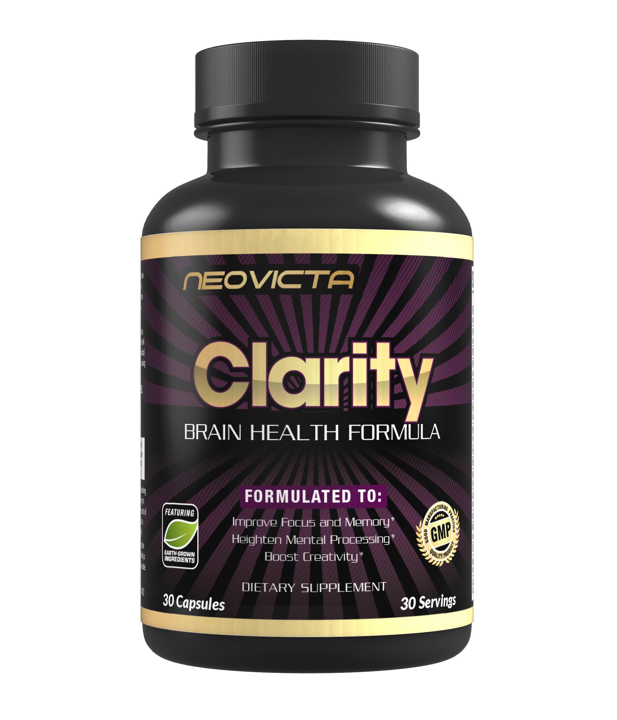 #1 Brain Supplement Nootropic - Mind & Energy Booster - Improve Focus, Memory & Mood - CLARITY - Superior Brain Function for Men & Women - 40+ Ingredients - 30 Servings - Money Back Guarantee