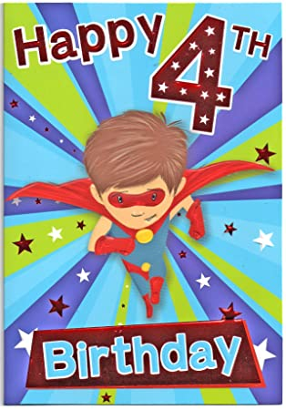 Birthday Card For Four 4 Year Old Boy