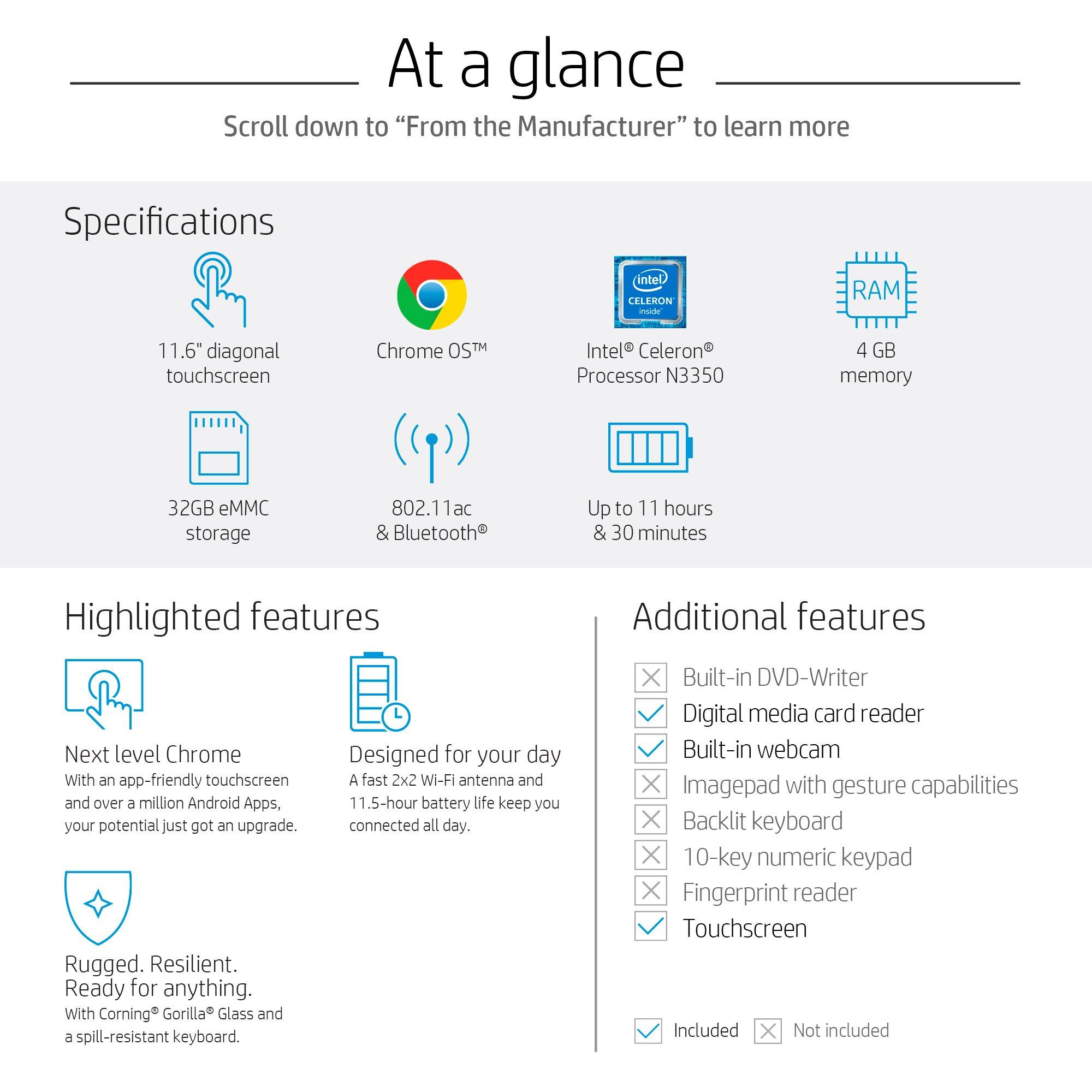 HP Chromebook x360 11-inch Convertible Laptop, Intel Celeron N3350, 4GB RAM, 32GB eMMC storage, Chrome OS (11-ae040nr, White) by HP (Image #5)