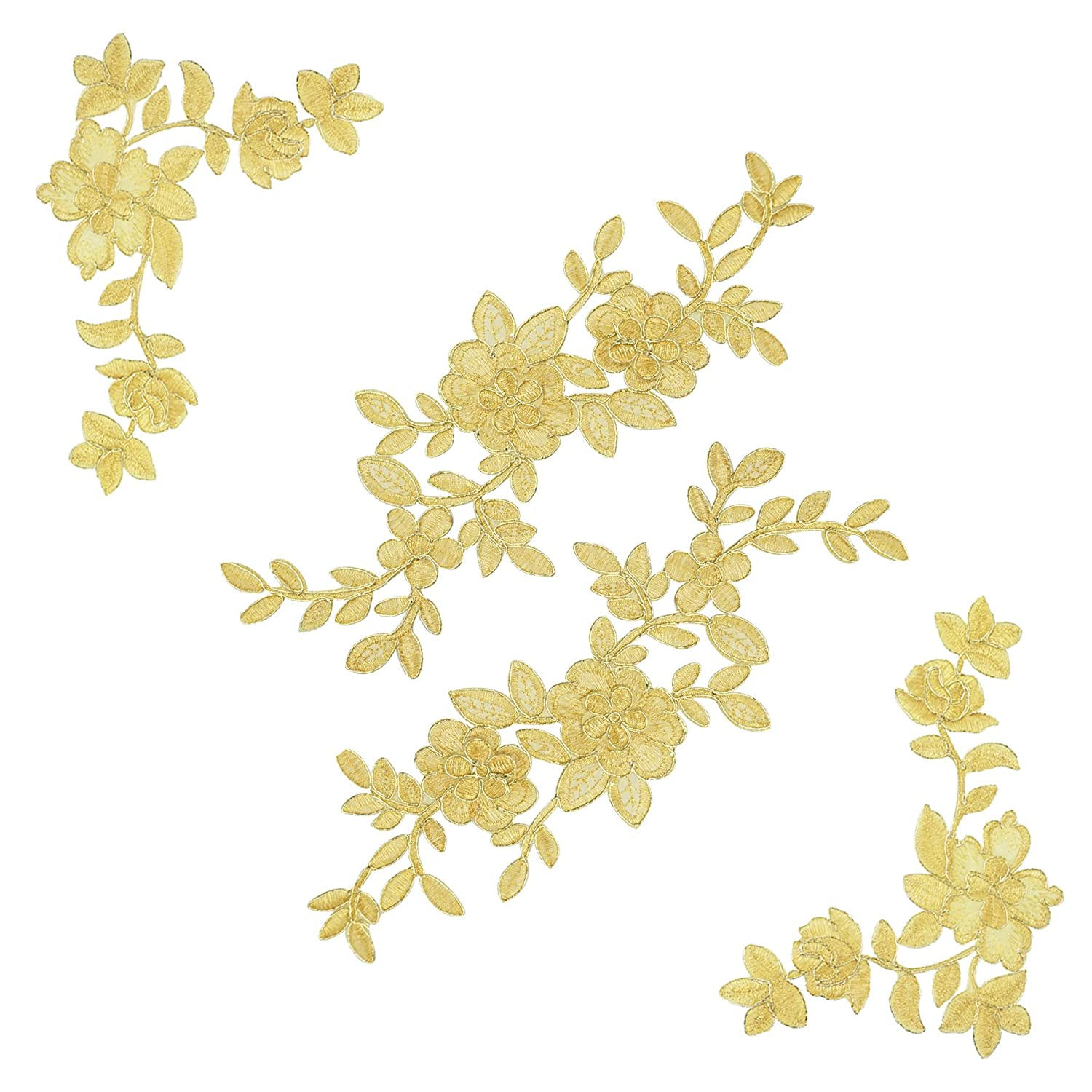 2 Pairs Gold Flower Leaves Lace DIY Appliques Wedding Appliques Embroidered Appliques Patches