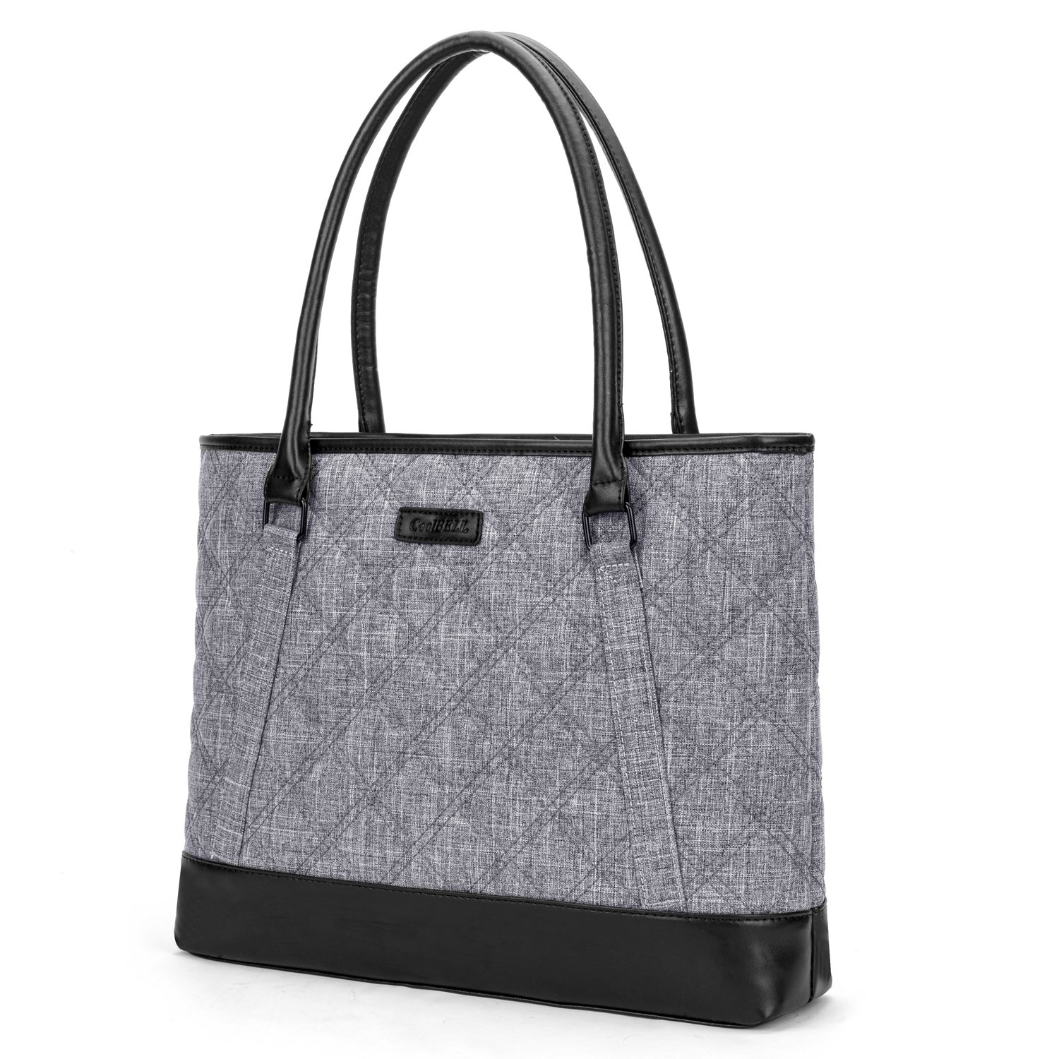 CoolBELL Women Tote Bag 15.6 Inch Laptop Handbag Nylon Briefcase Classic Shoulder Bag Top Handle Bag (Grey)