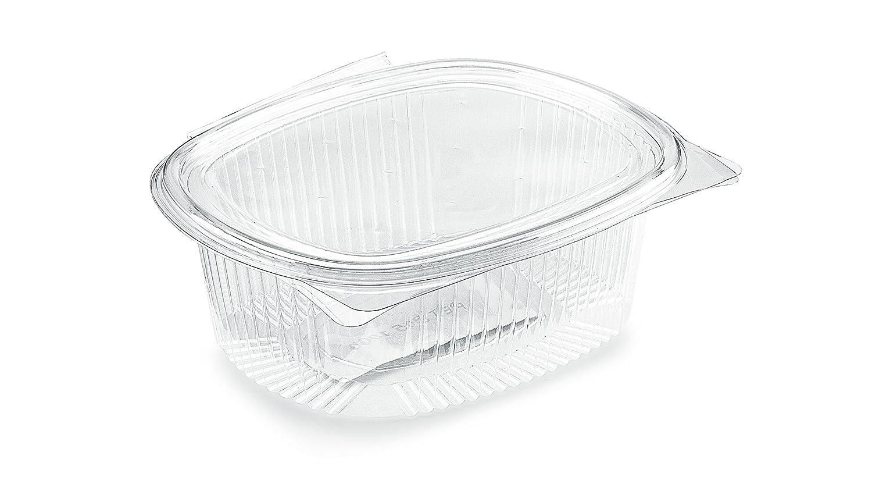 Bandejas ovaladas (polietileno tereftalato (PET) - CC 1000 -Caja de 50 unidades bandejas transparentes desechables con tapa unida - Fiambreras desechable de ...