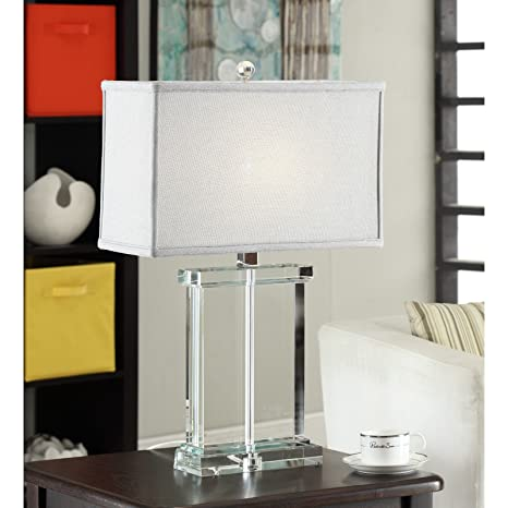 Siam Circus Crystal Rectangular Table Lamp With Grey Shade