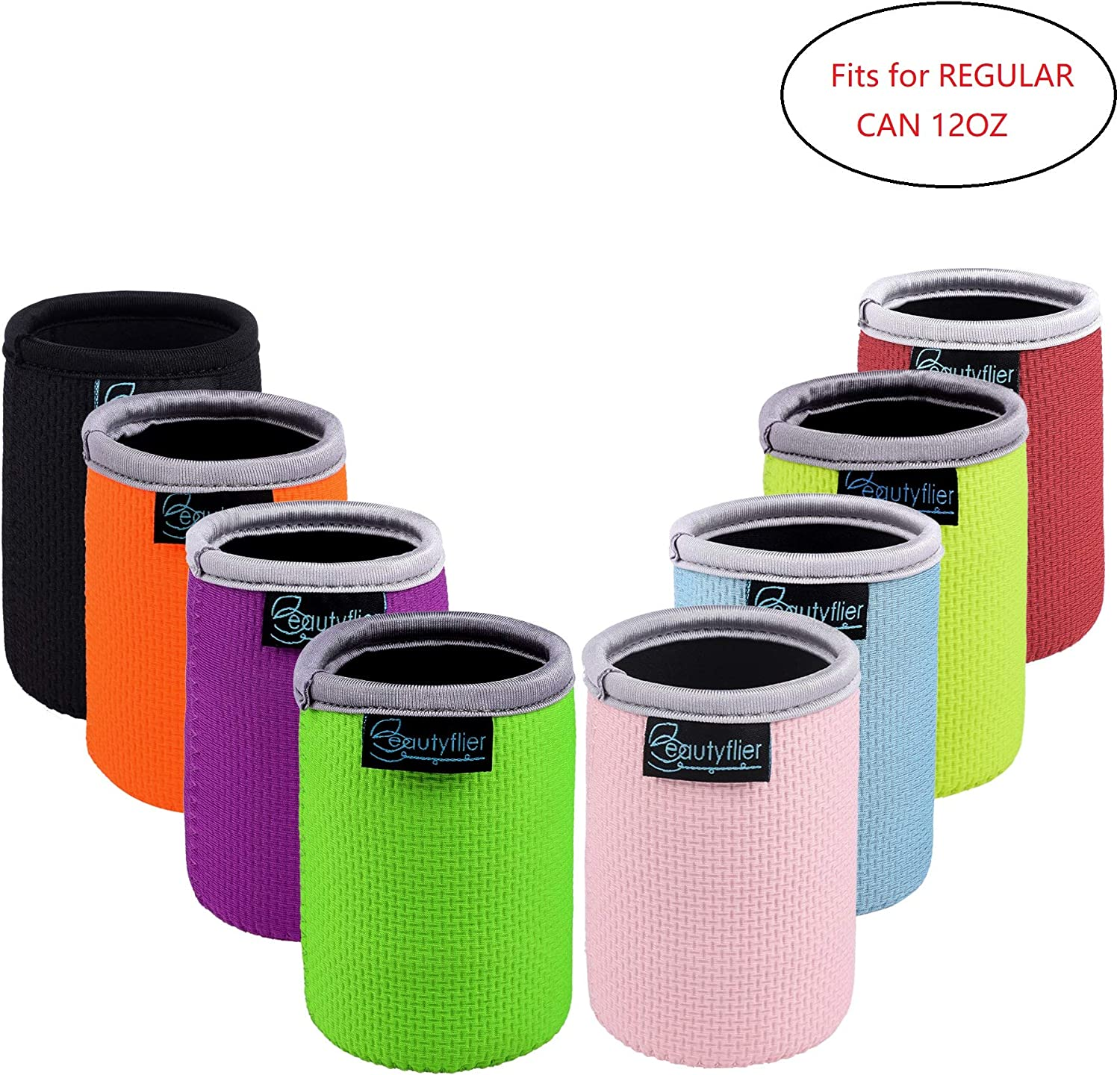 Beautyflier Pack of 8 Anti-Slip Embossed Neoprene Can Insulator Sleeve 3mm Thick Collapsible Regular Drink Can Cover for BBQ Camping Party