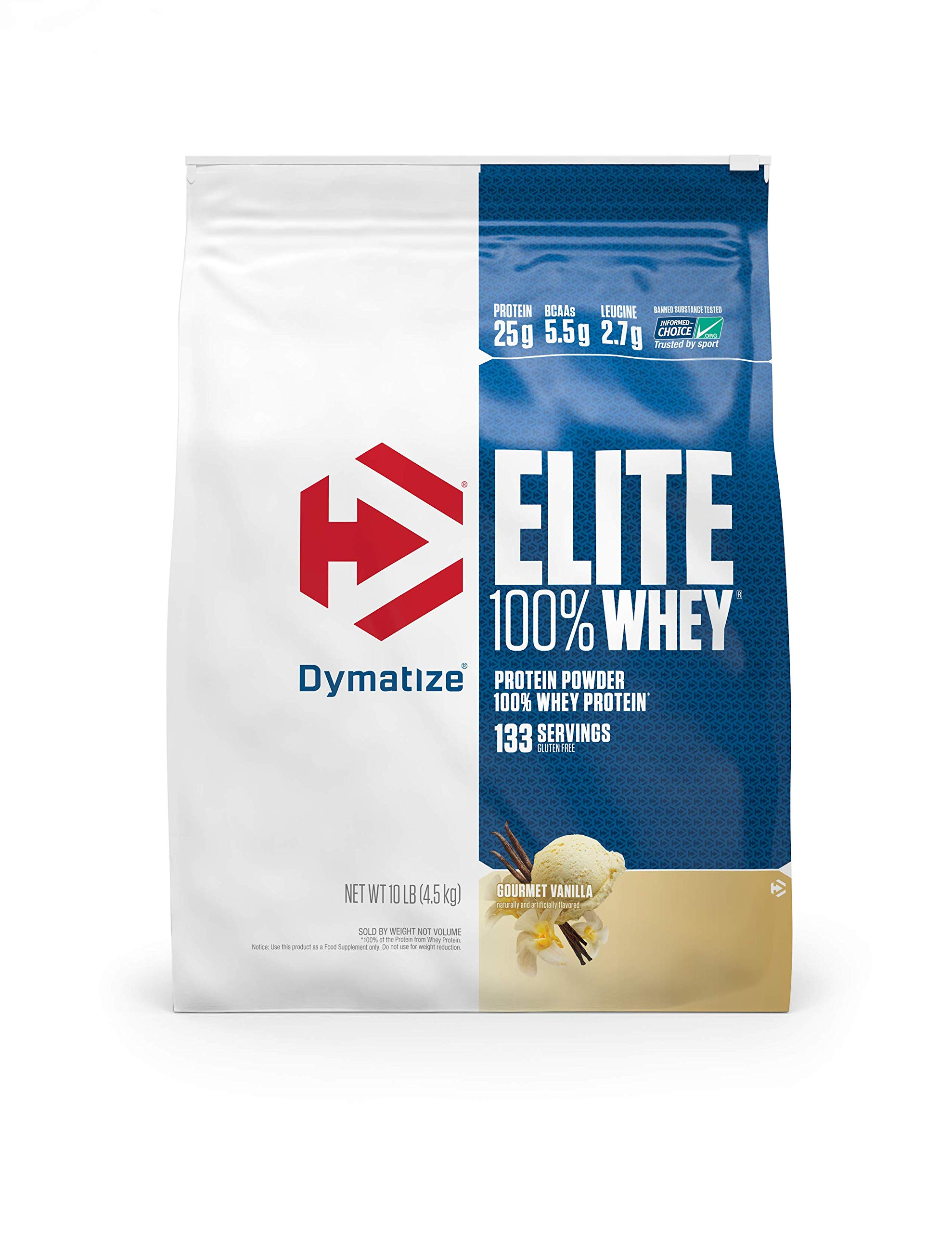 Dymatize Elite 100% Whey Protein Powder, Take Pre Workout or Post Workout, Quick Absorbing & Fast Digesting, Gourmet Vanilla, 10 Pound by Dymatize
