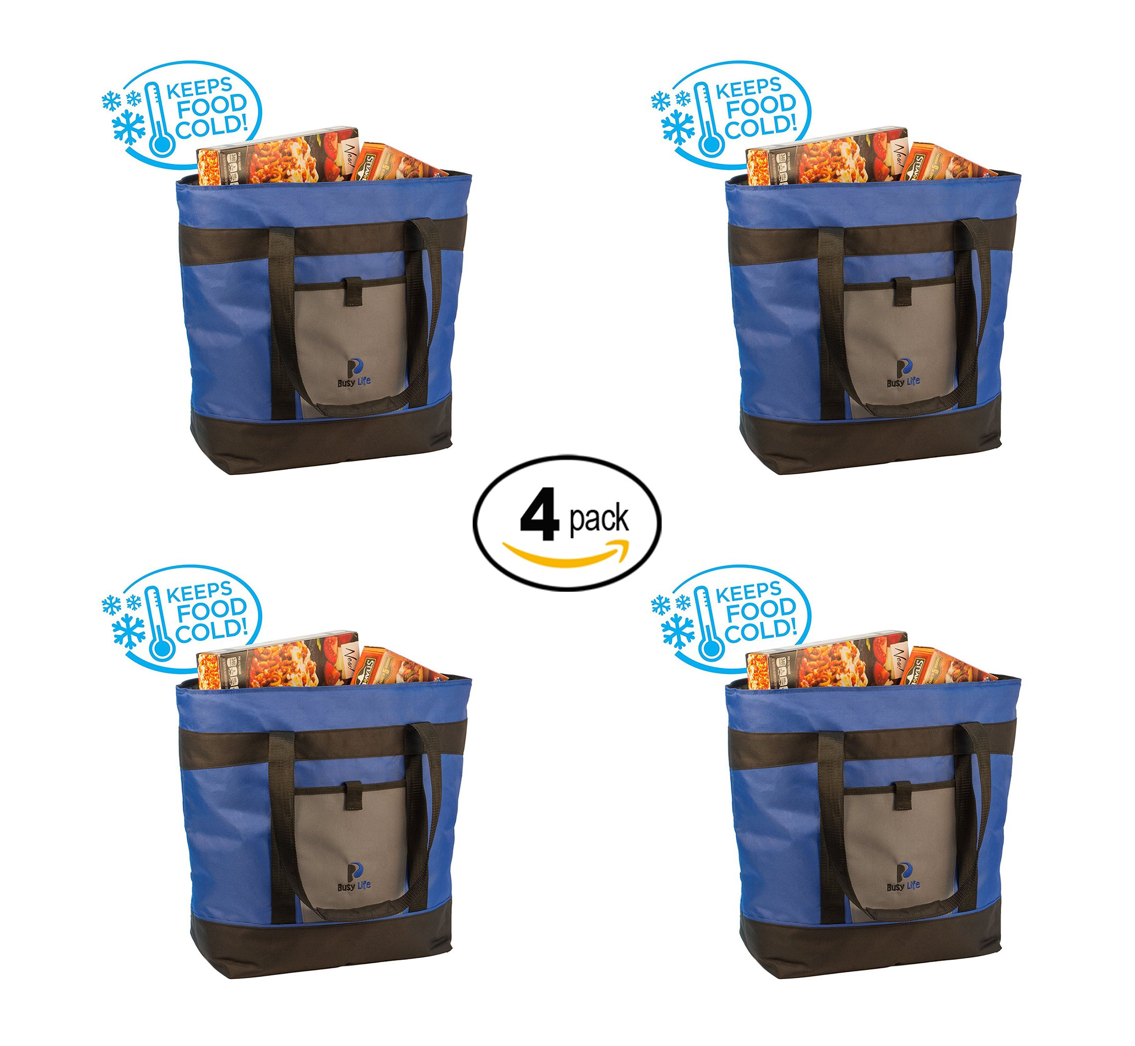 Insulated Cooler Bag Gift Pack. Busy Life Insulated Grocery Tote Perfect for Hot and Cold Food. Large 10 Gallon Capacity - Never Bring Home Melted Ice Cream Again. (4 Units)