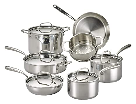 Lagostina Q940SC64 Tri-Ply Stainless Steel Multiclad Dishwasher Safe Oven Safe Metal Lid Cookware Set , 12-Piece, Silver (Renewed)