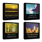 """Amazon Price History for:4Pcs x Motivational Quotes Motto Inspirational Success Teamwork Canvas Stretched Wood Framed Combine Modern Abstract Art For Home Room Office Wall Print Decor 12x12"""" (30x30cm) (657-660)"""