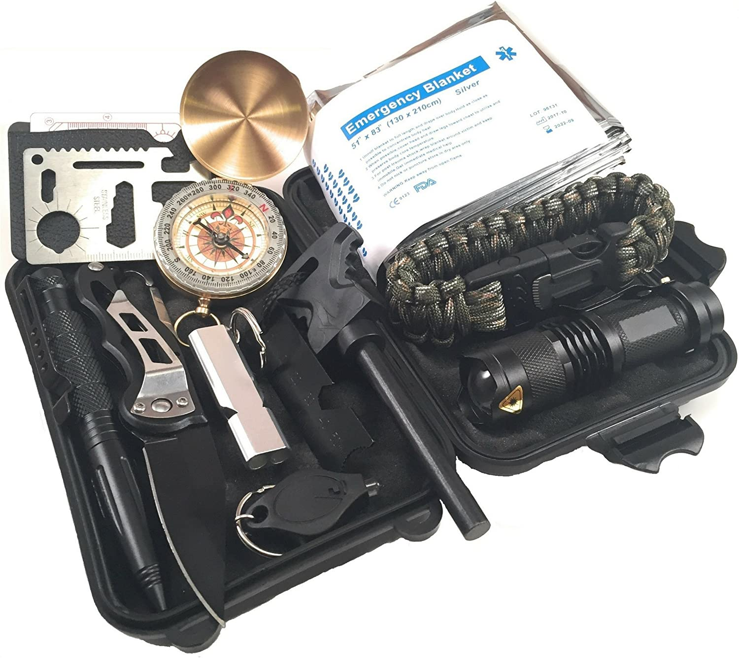 Survival Gear Kits 10-in-1 Outdoor Emergency SOS Survive Tool Set for Wilderness