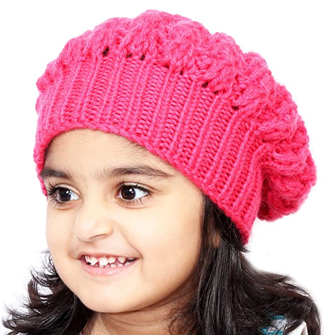 d1396a9c557 Magic Needles Winter Woolen Cap Handmade Girls Slouchy Shroom Beanie (Coral  Red)