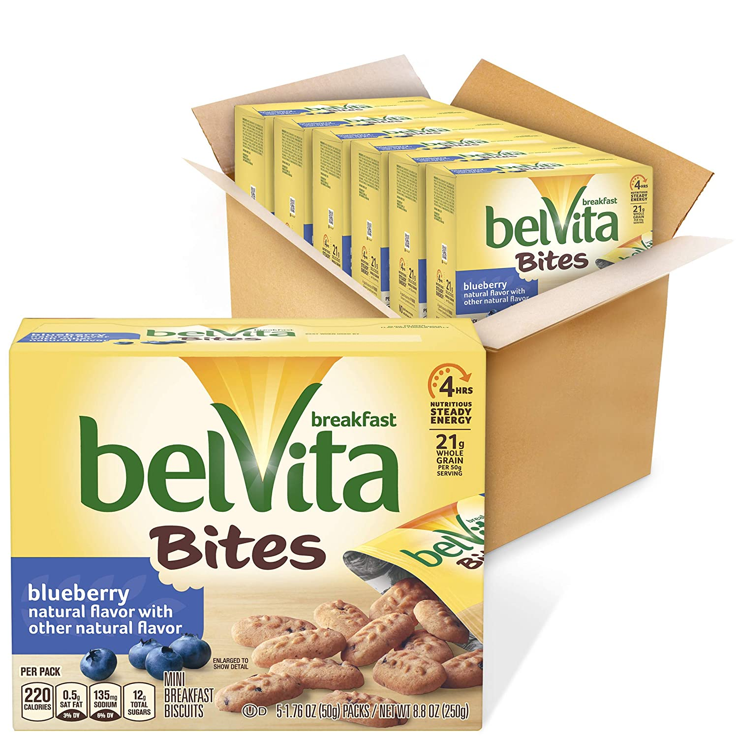belVita Breakfast Biscuit Bites, Blueberry Flavor, 6 Boxes (5 Packs Per Box)