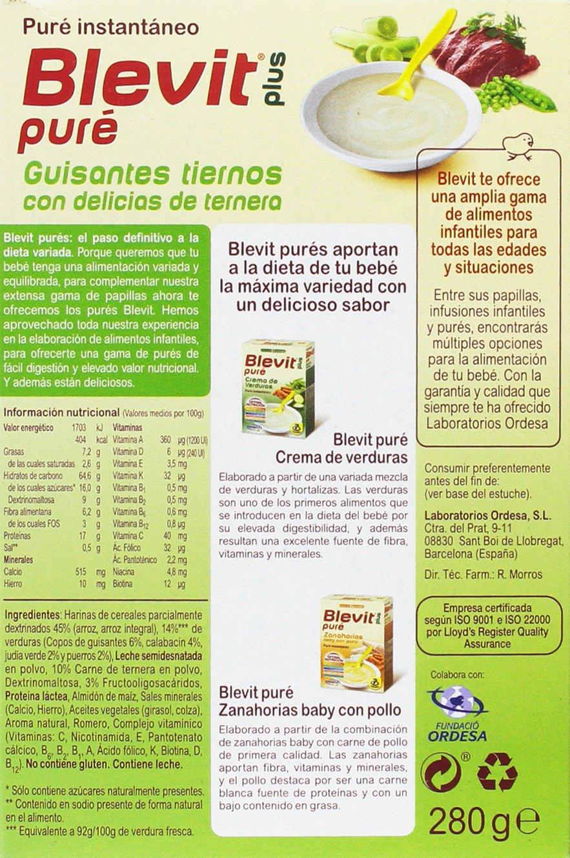 Blevit Plus Puré Guisantes Tiernos Cereales - 280 gr: Amazon.es: Alimentación y bebidas