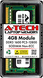 A-Tech 4GB DDR3 1600MHz SODIMM PC3-12800 CL11 204-Pin Non-ECC Unbuffered Notebook Laptop RAM Memory Upgrade Module