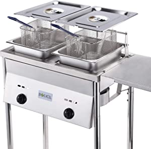 Bioexcel Two-Tank Outdoor Deep Fryer-Adjustable Temperature Regulator-Propane Deep Fryer with two Stainless Steel Baskets & Lids