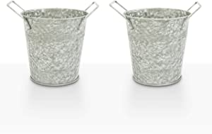 WH Galvanized Flower Plant Pots with Handles 6 inch, Set of 2 - Decorative Medium Metal Bucket Planters for Wedding Party, Table Centerpiece Decorations, Home Decor by Walford Home