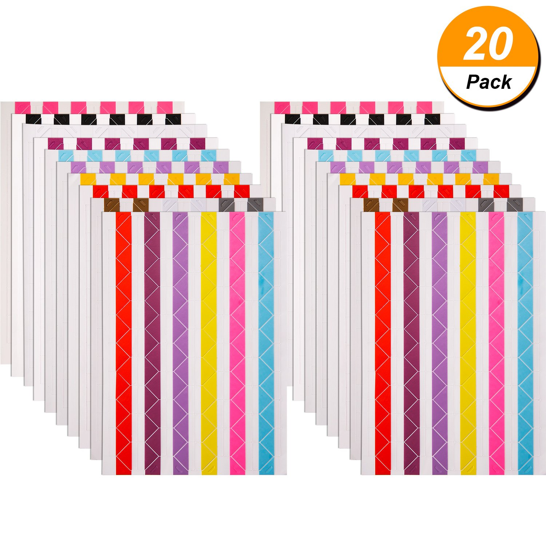 Bememo 20 Sheets Photo Corners Self Adhesive for Scrapbook Picture Album, Multicolored