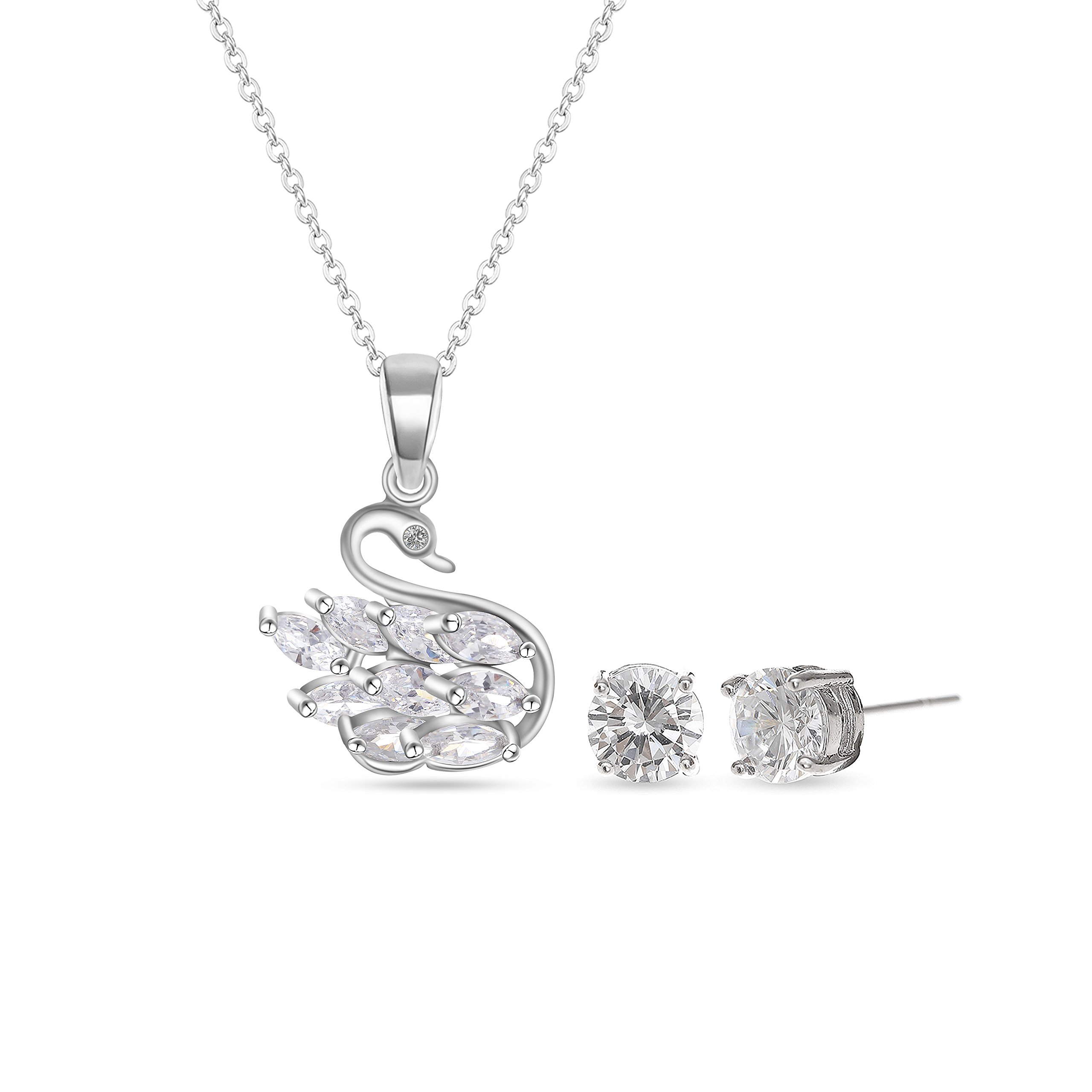 MYKEA Elegant Jewelry Set for Women 925Sterling Silver Swarovski Elements Swan Necklace with Round Diamond Stud Earrings Fashion Jewelry for Valentine's Day,Birthday