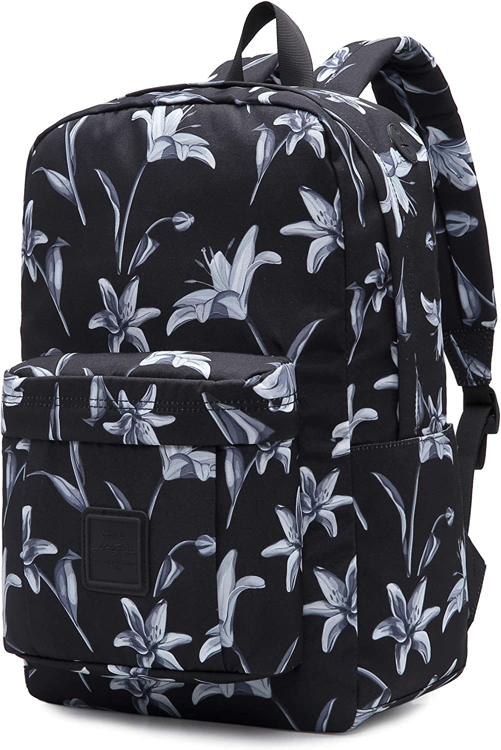599s Floral School Backpack For Teen Girls, Water resistance & Durable Bookbag Cute for College, Lily blossom, Black