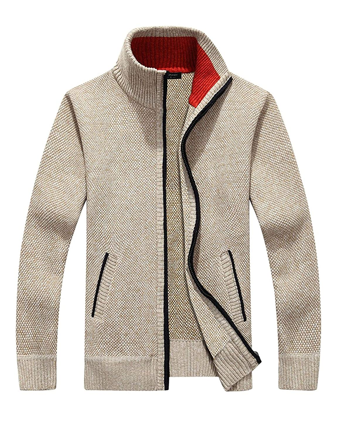 Simbama Mens Full Zip Up Sweaters Lightweight Casual Slim Fit Cardigan with Pockets SXJ007474