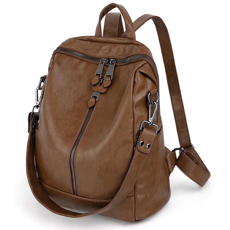 UTO Women Backpack Purse PU Washed Leather Convertible Ladies Rucksack Zipper Pockets Earphone Hole Shoulder Bag Brown
