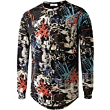 YININF Mens Hipster Hip Hop All Over Graphic Long Sleeves T-Shirt