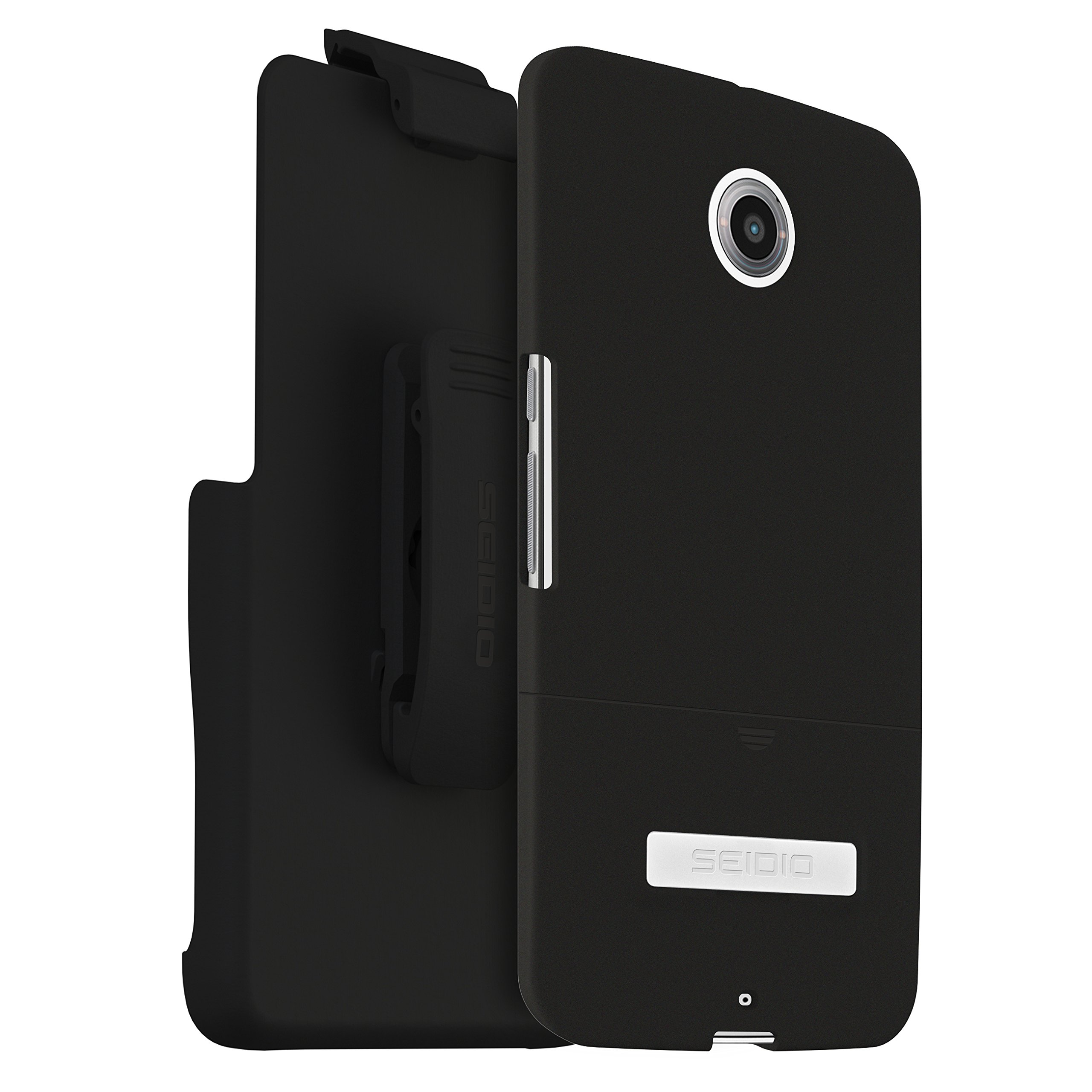 Seidio SURFACE Case with Metal Kickstand and Holster Combo for Motorola Nexus 6 - Retail Packaging - Black by Seidio