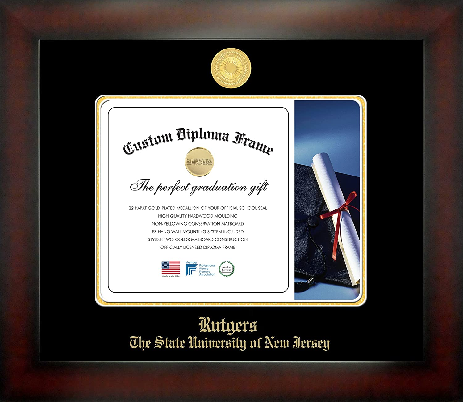 Campus Images NCAA Rutgers Scarlet Knights Infinity Diploma Frame Medium Brown with Black Edging