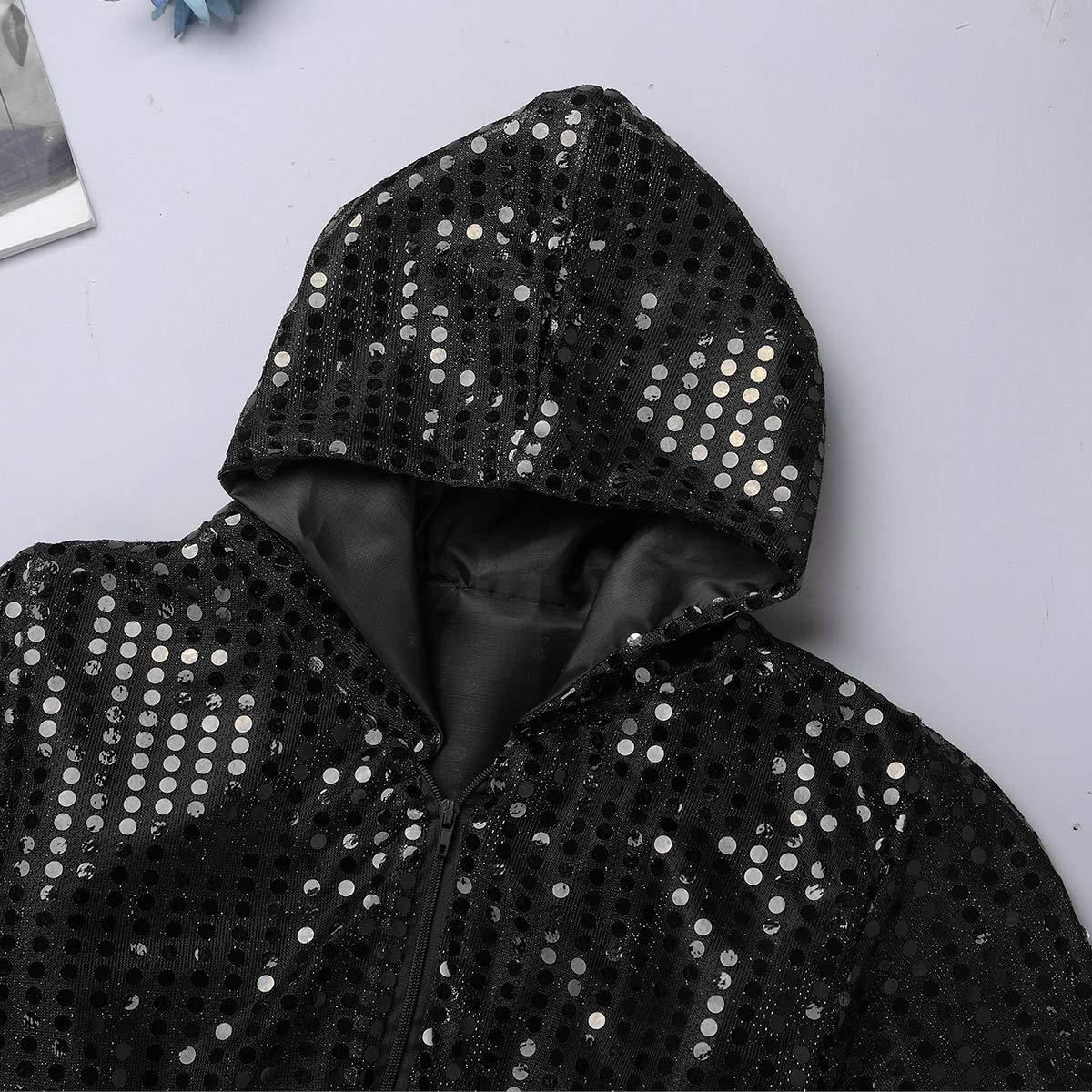 Agoky Enfant Unisexe V/êtement de Danse Jazz Hip-hop Gar/çon Fille Shirts /à Capuche Pantalon Paillettes Ensemble Danse du Rue Costume Hip-Pop Street Dance Dancewear 3-14 Ans