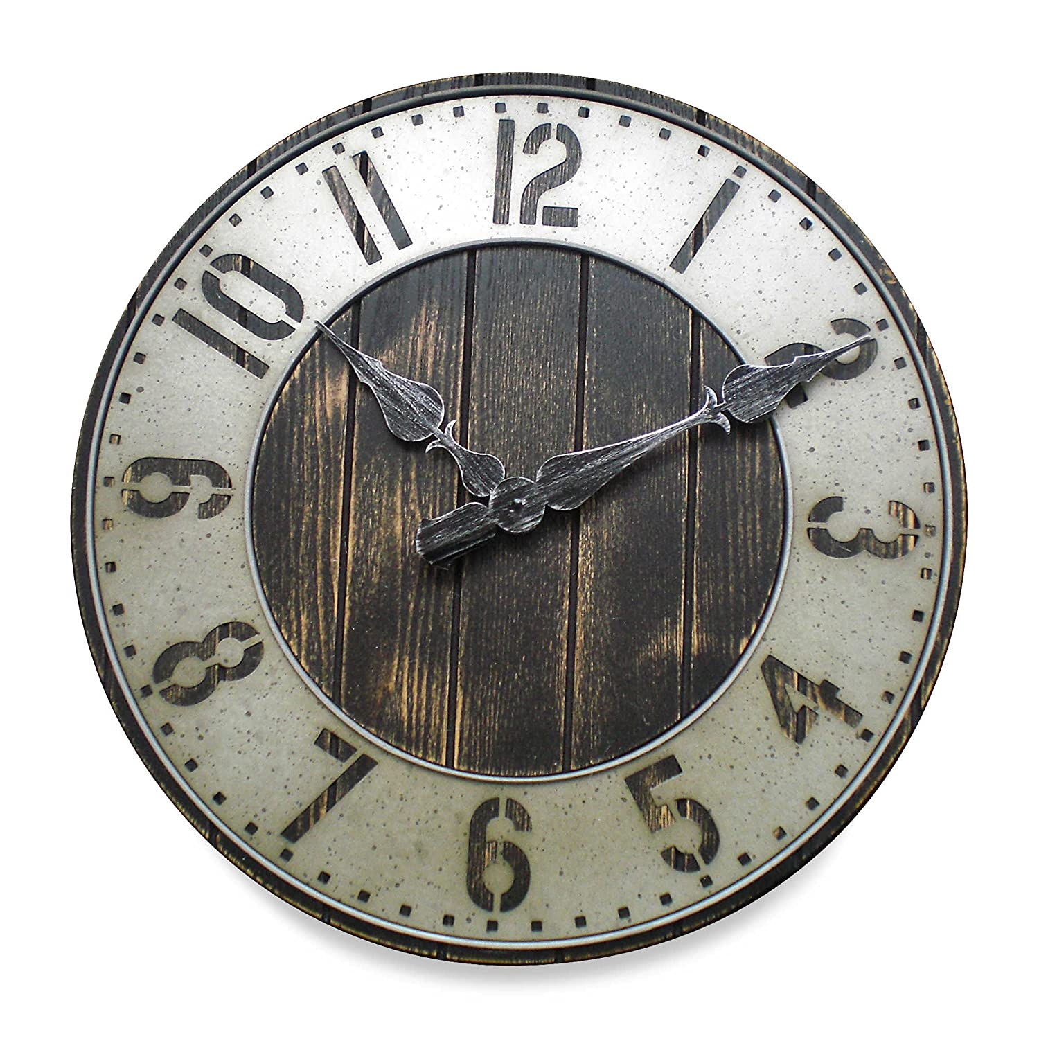 Amazon 20 in rustic punched metal wall clock home kitchen amipublicfo Image collections