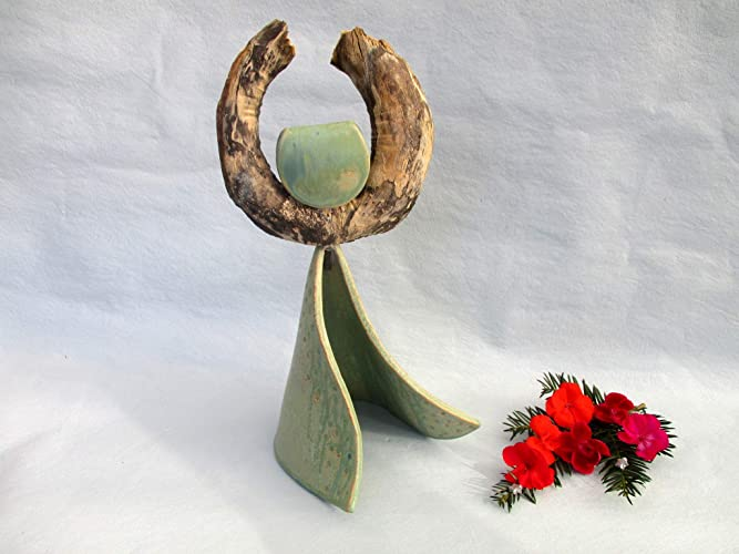 Treibholz Skulptur Schutzengel Mit Keramik Keramik Figur Holzfigur