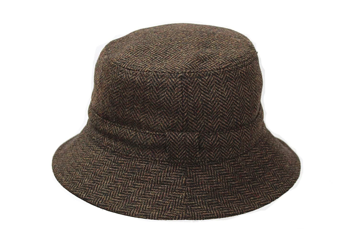 f6962634b24 Men s Brown Wool Tweed Outdoor Reversible Bucket Hat BR67  Amazon.co.uk   Clothing
